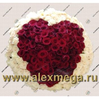 "Букет ""Сердце""- 161 роза."
