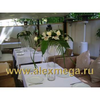 Оформление цветами, композиции на столы гостей, ресторан